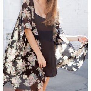 Black Floral Brandy Melville Alexis Kimono